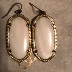 Kendra Scott Elle Earrings, Gold, White Stone.